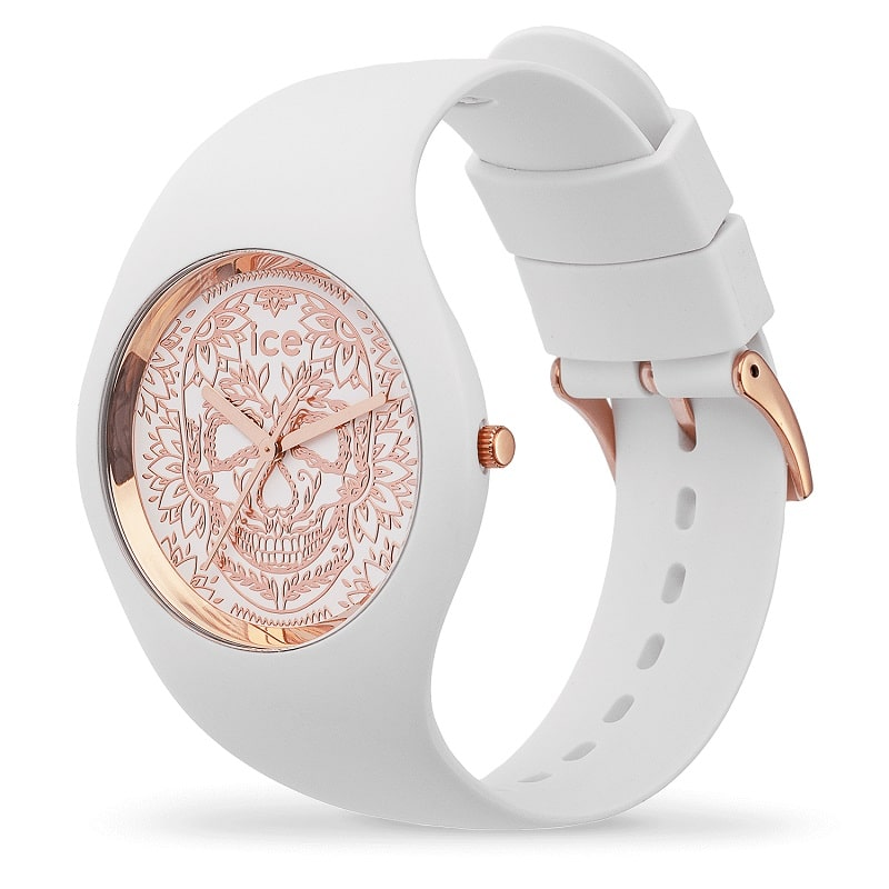 Zegarek Damski Ice-Watch - Ice Change Calavera White rose-gold 016052 M