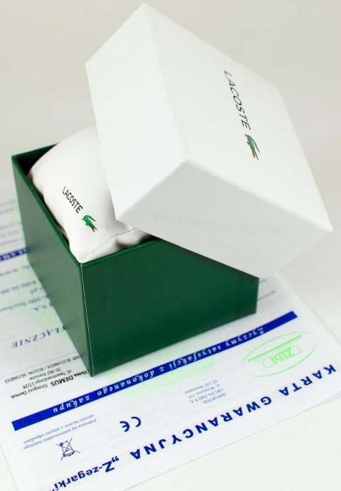Zdjęcie pudełka i gwarancji LACOSTE